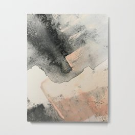 Peace and Quiet [2]: a pretty, minimal abstract piece in gray and peach by Alyssa Hamilton Art Metal Print