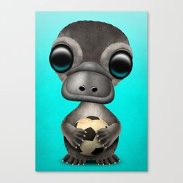 Cute Baby Platypus With Football Soccer Ball Canvas Print