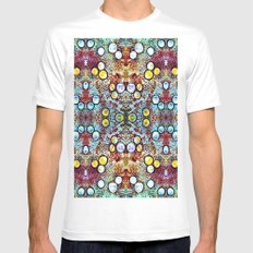 Colorful Gold Circles Pattern MEDIUM White Mens Fitted Tee
