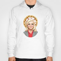leslie knope Hoodies featuring Leslie Knope, Goddess of Girl Power & Waffles by Kirsten Sevig