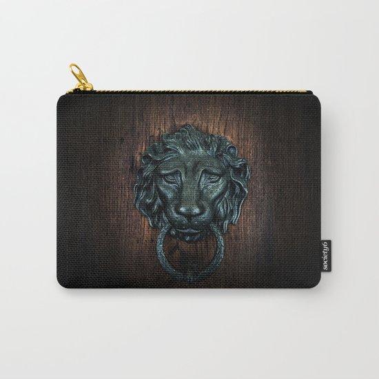 Vintage bronze lion door knocker Carry-All Pouch