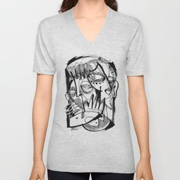 Here for Each Other - b&w Unisex V-Neck