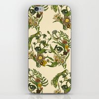 pug iPhone & iPod Skins featuring Botanical Pug by Huebucket