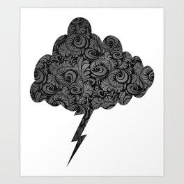 Elegant Black Lightning Cloud  Art Print
