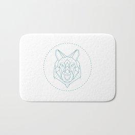 Geometric Blue Wolf Bath Mat