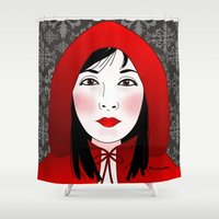 red riding hood Shower Curtains featuring Little riding red hood by Pendientera