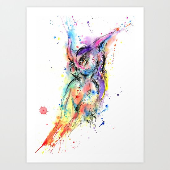 Abstract Owl Art Print by Psyca   Society6 - photo #42