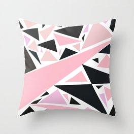 Artistic pink black abstract triangles pattern Throw Pillow