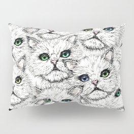 White Kitty Faces Pillow Sham