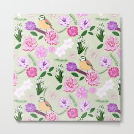 Joyful spring pink toned floral pattern with bird Metal Print