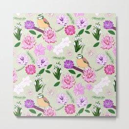 Joyful spring pink toned floral pattern with bird Metal Print
