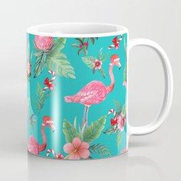 Santa Flamingo Christmas, Holiday Tropical Watercolor Coffee Mug