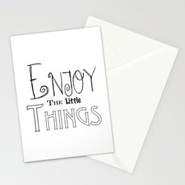 Enjoy The Little Things - Word Font Stationery Cards