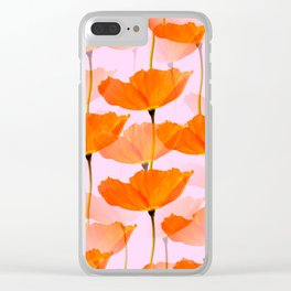 Orange Poppies On A Pink Background #decor #society6 #buyart Clear iPhone Case