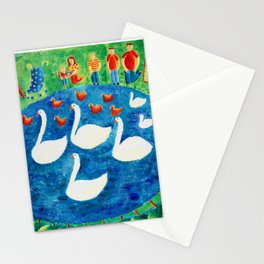 Family by Lake Stationery Cards