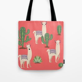 Llama with Cacti Tote Bag