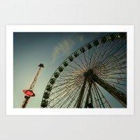 ferris wheel Art Prints featuring FERRIS WHEEL by Studio70