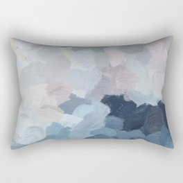 Navy Indigo Gray Blue Blush Pink Lavender Abstract Floral Spring Wall Art Rectangular Pillow
