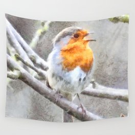 Angelic Robin Watercolor Wall Tapestry