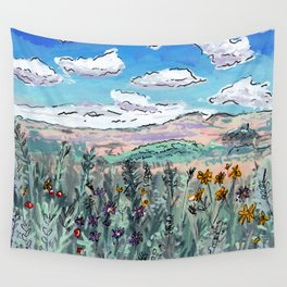Colorado Plains Landscape Illustration Wall Tapestry