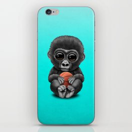 Cute Baby Gorilla Playing With Basketball iPhone Skin