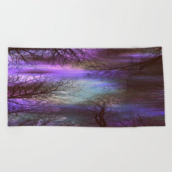 midnight trees purple green teal Beach Towel