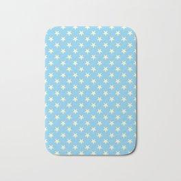 Cream Yellow on Baby Blue Stars Bath Mat