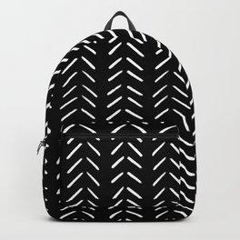 Minimalist Hand Drawn Herringbone Pattern (white/black) Backpack