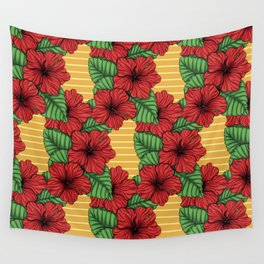 Hibiskcus and leaves, tropical pattern Wall Tapestry