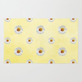 Daisies in love- Yellow Daisy Flower Floral pattern with Ladybug Rug
