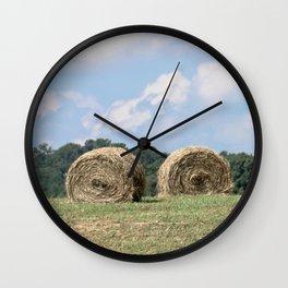 Hay Bales on The Farm Photography Wall Clock
