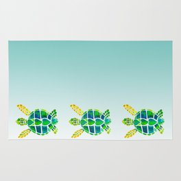 Swimming Baby Sea Turtles Rug