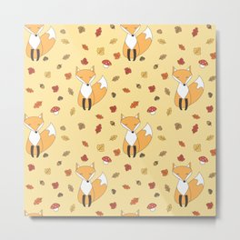 cute autumn pattern with leaves, foxes, mushrooms, acorns and chestnuts Metal Print