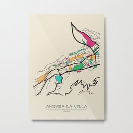 Colorful City Maps: Andorra la Vella, Andorra Metal Print
