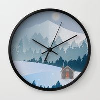 cabin Wall Clocks featuring Cabin by Eric-Bird