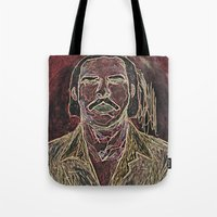 nick cave Tote Bags featuring Cave by Alec Goss