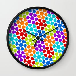 Multi-Coloured Flower Pattern Wall Clock