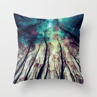 nordic Throw Pillows featuring NORDIC LIGHTS by RIZA PEKER