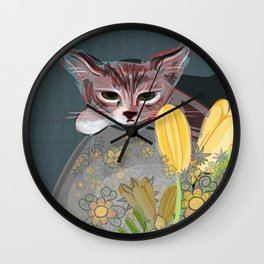 Watchful Kitten Wall Clock