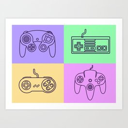 Nintendo Gaming Controllers - Retro Style! Art Print