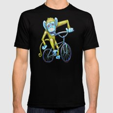 Bicycling Monkey Mens Fitted Tee X-LARGE Black