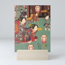 Utagawa Kuniyoshi - A Bride Emerging from a Sedan Chair (1850) Triptych Left; Attendants Mini Art Print