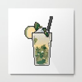 Refreshing icy lemonade with mint, lemon and ice pixel art on white background. Metal Print