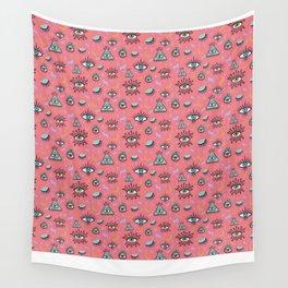 Trippy Eye Pattern in Lawn Flamingo Wall Tapestry