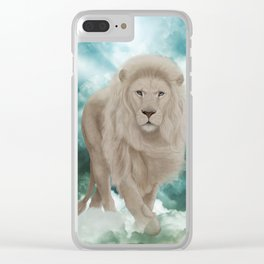 Awesome white lion in the sky Clear iPhone Case