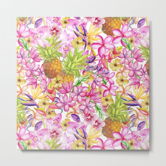 Tropical flower and pineapple watercolor art Metal Print