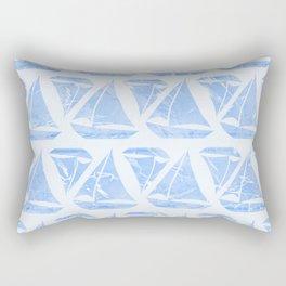 Blue Sailing Boats Water Pattern Rectangular Pillow