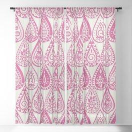 Indian raindrops pink Sheer Curtain