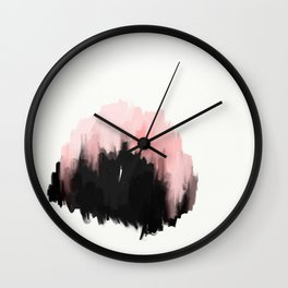 pink cities - an abstract painting in millennial pink and black Wall Clock