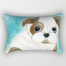 Bulldog Puppy Painting, Dog Painting, Kid's Room Decor, Dog Lover, Animal Art Rectangular Pillow